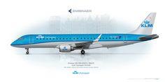 Embraer 190 KLM Cityhopper    www.aviaposter.com     #embraer #ERJ190 #posterjetavia