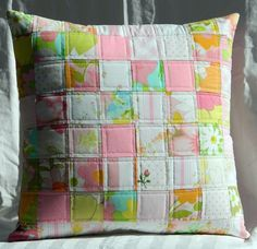 pink patchwork pillow cover vintage sheets