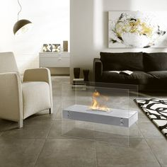 Vitrum H – Freestanding Ventless Ethanol Fireplace - contemporary - Indoor Fireplaces - Portland - Ventless Fireplace Pros Fireplace Stores, Bioethanol Fireplace, Indoor Fireplaces, Freestanding Fireplace, Traditional Fireplace, Modern Fireplaces, Wood Burning Fires, Living Room Flooring, Fire Pit Backyard