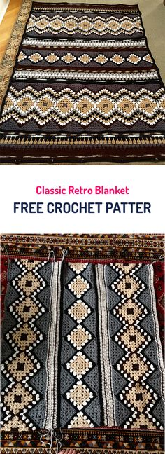 Classic Retro Blanket Free Crochet Pattern #crochet #diy #style #homedecor #crafts