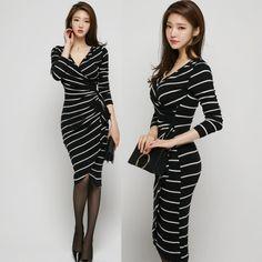 $38.21 New Arrival V Neck #Striped #Dresses