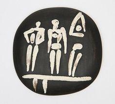 Pablo Picasso Divers, Madoura, Ramié 374, Black Convex Ceramic Plate, 1956!!