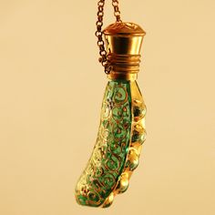 Rare Peas in a Pod Chatelaine Enameled Glass Perfume Bottle