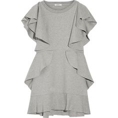 Goen J Ruffled cotton-jersey mini dress ($480) ❤ liked on Polyvore featuring dresses, grey, frill dress, grey dress, mini dress, gray mini dress and short dresses