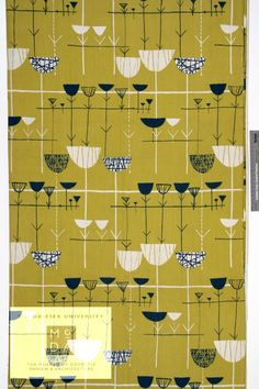 Untitled (Linear Flowers) textile designed by Marion Mahler, manufactured by David Whitehead Ltd., about 1953 Roller printed rayon textile. David Whitehead Ltd used cost-effective textiles and machine printing to produce modern patterns by named designers. Their fabrics were affordable to consumers in the 1950s, and were especially popular among young, design-conscious people. This design is very similar to Lucienne Day's 'Calyx' pattern first produced a couple of years previously.