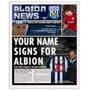 West Bromwich Albion personalised newspaper Personalised Football, Gifts For Football Fans, West Bromwich, New You, Name Signs, Newspaper, Names, Baseball Cards, Custom Football