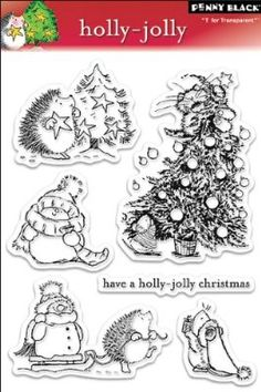 "Holly Jolly Penny Black Clear Stamps 5""x7.5"" Sheet PB30039"