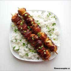Kuřecí špízy s rýží | Fitnessreceptář.cz - vybrané zdravé fitness recepty…