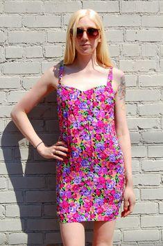c7d10e2f09db Neon floral print minidress 1990s 90s VINTAGE