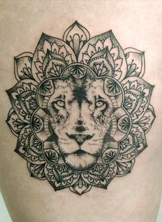 mandala lion thigh and hip tattoos - Google Search