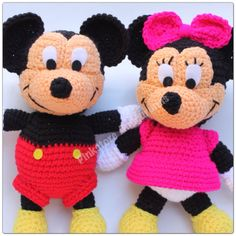 Minnie and Mickey by Pinkstore amigurumis. < 3