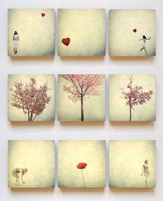 """3 x 3 Foto-Trios auf Holz. Foto-Trio I: """"Fotomädchen""""  Foto-Trio II: """"Lebenswerk""""  Foto-Trio III: """"Blumenmädchen""""  Alle Motive sind nachbearbeitet. Durch die Überlagerung unterschiedlicher..."""
