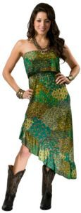 Uluwatu Ladies Turquoise, Green, and Yellow Strapless Maxi Dress $36.00