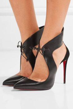 CHRISTIAN LOUBOUTIN Classy Ferme Rouge cutout leather and suede pumps