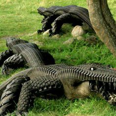 Garden alligators made from recycled used tires