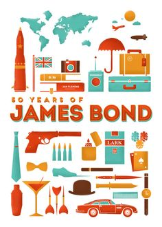 Love this James Bond 50 Years print by RLCNTRS on Society6. So much fun!