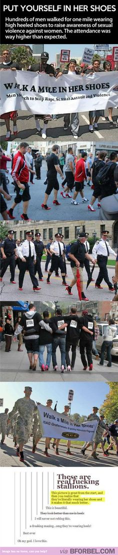 Hundreds Of Men Walked For One Mile In Heels To Raise Awareness Of Sexual Violence Against Women… Love This.