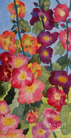 Hollyhocks In Bloom Acrylic Print by Kimberlee Weisker. All acrylic prints are professionally printed, packaged, and shipped within 3 - 4 business days and delivered ready-to-hang on your wall. Choose from multiple sizes and mounting options. Art Floral, Garden Painting, Painting & Drawing, Watercolor Flowers, Watercolor Paintings, Watercolors, Guache, Hollyhock, Impressionist Paintings
