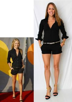 for some reason, I love this black button down + black shorts combo, especially with a shiny metallic skinny belt