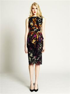 FUZZI - fall floral sheath dress