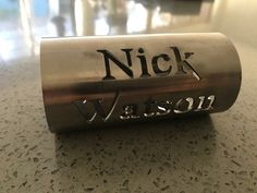 Laser cut stainless Tube Name Tag 3d Laser, Name Tags, Laser Cutting, Sunglasses Case, Furniture Design, Tube, Name Badges