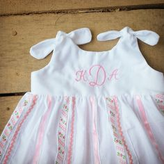 Monogrammed knot dress Ribbon dress pink coming by ShelbyJaneandCo