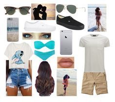 """""""Beach day with my bae"""" by mfrias02 on Polyvore featuring Volcom, Seafolly, Vans, NYX, Hollister Co., J.Crew, Ray-Ban, Belstaff, women's clothing and women's fashion"""