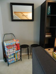 STORAGE IDEAS FOR BOARD GAMES:  Rolling shopping cart Board Game Storage