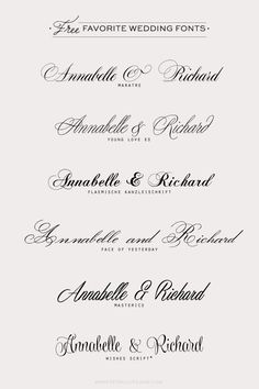 Free favorite wedding fonts