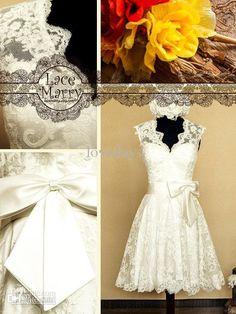 Wholesale A-Line Wedding Dresses - Buy Knee Length Lace Wedding Dress Features Keyhole Open Back with Scalloped Edges - Sdges - Short Lace Ballgown Bridal Brides Wedding Dresses, $99.0 | DHgate