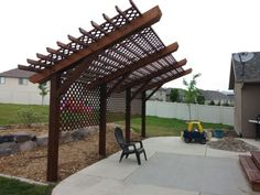 Here's the cantilevered (ish) pergola we ended up building.