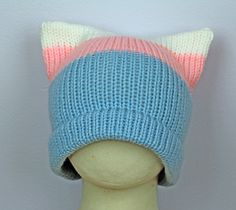 Pussy Hat!  Trans Pride ! Cat Kitten Hat Pink Ear Hat Women's Rights March on Washington. Protest by LeafLee on Etsy