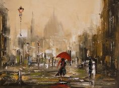 a woman with a red umbrella. painting by marek langowski