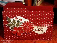 File Folder Card made with Envelope Punch Board, Stampin Up Secret Garden, Silhouette Sentiments