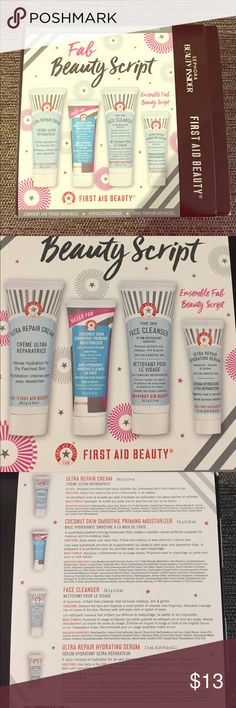 First Aid Beauty Travel Set - Sephora Reward Contains travel sizes of First Aid Beauty's best selling products: Ultra Repair Cream, Coconut Skin Smoothie Priming Moisturizer, Face Cleanser, and Ultra Repair Hydrating Serum. Allergy-tested, fragrance-free, and safe for sensitive skin! Brand new, in original packaging, and all items are unused and unopened. First Aid Beauty Makeup