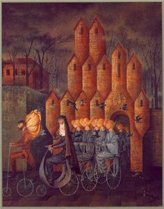 """""""Towards The Tower"""" by Remedios Varo (1908-1963) via Wikipaintings."""