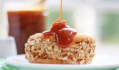 dulce de leche ice cream sandwiches with toasted pecans & salted caramel sauce