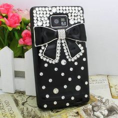 DIY Diamond Bow Black Hard Case Cover Skin For Samsung Galaxy S II 2 i9100 Phone