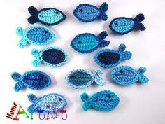 Fische häkel appli - !!!Freie Farbwahl!!! von Home Artist auf DaWanda.com