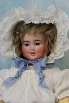 """Antique 17"""" 3 Face Bisque Pull String Talking Doll, by Carl Bergner Old Clothes"""
