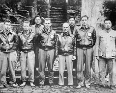 Aftermath: Jimmy Doolittle with his bombing crew and some Chinese friends are pictured here in China, after the airmen bailed out following Doolittle's raid on Japan, on April 18,1942