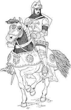 Knight in armor and helmet riding a horse coloring page Horse Coloring Pages, Cool Coloring Pages, Colouring Pics, Adult Coloring Pages, Coloring Pages For Kids, Coloring Sheets, Coloring Books, Medieval Crafts, Middle Ages