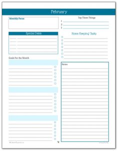 Monthly Planner Printable for February