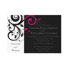 Black/White/Magenta Bold Swirl Wedding Invitations  Bold and striking modern contemporary black wedding invitations with white and magenta accents, with delicate swirl scroll floral leaf background. Mostly black design with a strip of white and decorative whirling swirly elements