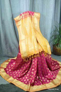 Banarsi Rani Orange & Gold Combined Silk Saree With Blouse Pc