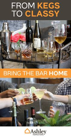 So long smelly college bars, hello home-taining. Ashley Homestore has everything you need to turn your house into a grown-up entertainment center. BYOB.