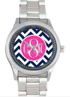Monogrammed Stainless Steel Boyfriend Watch