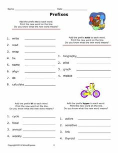 Problem Solving Worksheets 4th Grade Prefix Practice Make A New Word  Prefixes Free Worksheets And  Worksheets On Phrases And Clauses Excel with Kindergarten Mathematics Worksheets Pdf Free Worksheets Grammar Prefixes And Suffixes   Free Worksheets  At Schoolexpress Main Idea And Details Worksheets