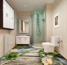décoration sol personnalisé revêtement de sol vinyle autocollant pvc paysage rivière avec pont en bois