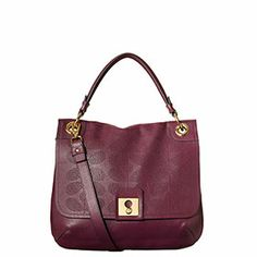 Sixties Stem Punched Leather Ivy Bag Plum